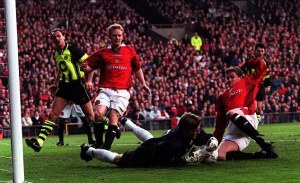Manchester United lose to Dortmund in 1997, when only 5 English clubs occupied the top 50 spaces in Europe.